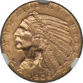 Indian Half Eagles: , 1909 $5 MS63 NGC. NGC Census: (778/471). PCGS Population (819/487).Mintage: 627,138. Numismedia Wsl. Price for problem fre...