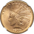 Indian Eagles: , 1910-D $10 MS63 NGC. NGC Census: (1910/1068). PCGS Population(2124/757). Mintage: 2,356,640. Numismedia Wsl. Price for pro...