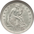 Seated Quarters: , 1853 25C Arrows and Rays MS61 NGC. NGC Census: (42/362). PCGSPopulation (12/317). Mintage: 15,210,020. Numismedia Wsl. Pri...