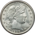 Barber Half Dollars: , 1907 50C MS62 PCGS. PCGS Population (40/168). NGC Census: (34/137).Mintage: 2,598,575. Numismedia Wsl. Price for problem f...