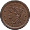 Large Cents: , 1855 1C Upright 5s MS64 Brown PCGS. PCGS Population (109/45). NGCCensus: (140/150). Mintage: 1,574,829. Numismedia Wsl. Pr...