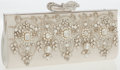 Luxury Accessories:Bags, Judith Leiber White Satin Wedding Clutch Bag with Jewels andPearls. ...