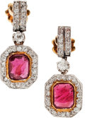 Estate Jewelry:Earrings, Antique Ruby, Diamond, Platinum-Topped Gold Earrings. ...