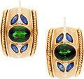 Estate Jewelry:Earrings, Tourmaline, Sapphire, Diamond, Gold Earrings. ...