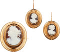 Estate Jewelry:Suites, Victorian Hardstone Cameo, Hair, Gold Jewelry Suite. ...
