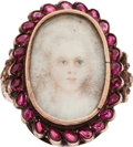 Estate Jewelry:Rings, Georgian Portrait, Ruby, Silver Ring . ...