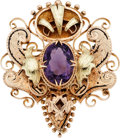 Estate Jewelry:Brooches - Pins, Victorian Amethyst, Enamel, Gold Brooch. ...