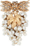 Estate Jewelry:Brooches - Pins, Freshwater Cultured Pearl, Diamond, Gold Brooch. ...