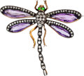 Estate Jewelry:Brooches - Pins, Art Nouveau Diamond, Amethyst, Garnet, Silver-Topped Gold Brooch. ...