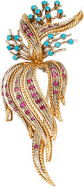 Estate Jewelry:Brooches - Pins, Ruby, Turquoise, Gold Brooch. ...
