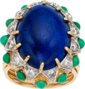 Estate Jewelry:Rings, Lapis Lazuli, Turquoise, Diamond, Gold Ring. ...