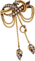 Estate Jewelry:Brooches - Pins, Victorian Cultured Pearl, Enamel, Gold Brooch. ...