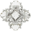 Estate Jewelry:Brooches - Pins, Rock Crystal Quartz, Diamond, White Gold Brooch. ...