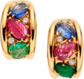 Estate Jewelry:Earrings, Retro Sapphire, Emerald, Diamond, Gold Earrings, French. ...