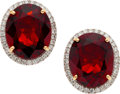 Estate Jewelry:Earrings, Garnet, Diamond, Gold Earrings. ...
