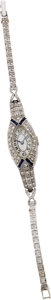 Estate Jewelry:Watches, Swiss Diamond, Synthetic Sapphire, Platinum, White Gold Wristwatch....