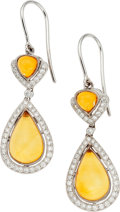 Estate Jewelry:Earrings, Amber, Diamond, White Gold Earrings, Eli Frei. ...