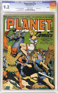 Golden Age (1938-1955):Science Fiction, Planet Comics #28 Rockford pedigree (Fiction House, 1944) CGC NM-9.2 Off-white pages. This bondage cover is attributed to t...