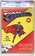 Golden Age (1938-1955):Superhero, Superman #2 (DC, 1939) CGC FN/VF 7.0 Cream to off-white pages. The Overstreet guide ranks this second issue among the 100 mo...