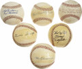 Autographs:Baseballs, 1920s St. Louis Cardinals Signed Baseballs Lot of 6. On the halfdozen orbs seen here we present a collection of vintage si...