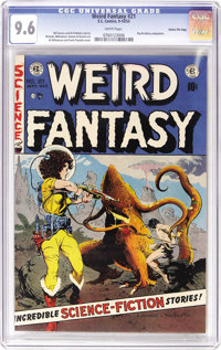 Weird Fantasy #21 Gaines FIle pedigree 12/12 (EC, 1953) CGC NM+ 9.6 White pages. One of the more famous covers of the ti...