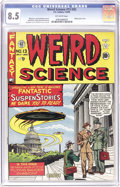 "Golden Age (1938-1955):Science Fiction, Weird Science #13 (#2) (EC, 1950) CGC VF+ 8.5 Off-white pages.Here's the noted ""UFOs over Washington"" cover by Al Feldstein..."