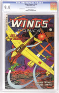 Golden Age (1938-1955):War, Wings Comics #116 (Fiction House, 1952) CGC NM 9.4 Off-white towhite pages. Lee Elias art. Overstreet 2006 NM- 9.2 value = ...