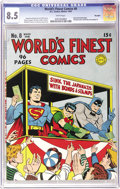 Golden Age (1938-1955):Superhero, World's Finest Comics #8 Big Apple pedigree (DC, 1942) CGC VF+ 8.5 White pages. The appealing style of Jack Burnley graces t...