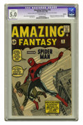 Silver Age (1956-1969):Superhero, Amazing Fantasy #15 (Marvel, 1962) CGC Apparent VG/FN 5.0 Slight(A) Off-white pages. This historic issue boasts the origin ...
