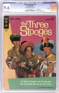 Three Stooges File Copies CGC Group (Gold Key, 1963-72). The slabbed Stooges here include CGC NM+ 9.6 copies of #11, 23...