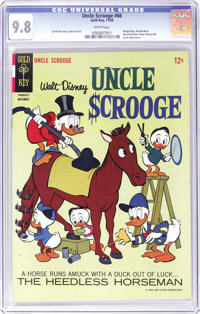 Uncle Scrooge #66 (Gold Key, 1966) CGC NM/MT 9.8 White pages. We'd never seen a Scrooge issue number this low with a