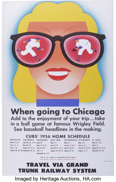8ec1a8563 Baseball Collectibles:Others, 1956 Chicago Cubs Schedule from Train Depot.  Beautifully preservedsign from