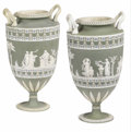 Ceramics & Porcelain, Two Wedgwood Three Color Stoneware Vases with Greendip Ground. . Wedgwood, Stoke-on-Trent, Staffordshire, England. 19th cent... (Total: 4 Items)