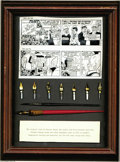 """Memorabilia:Comic-Related, Dick Tracy - Chester Gould and Rick Fletcher Framed Set of Pens and Brush (1973). Offered here in a 11"""" x 14"""" box frame is a..."""