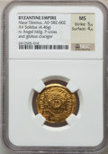 Ancients:Byzantine, Ancients: Maurice Tiberius (AD 582-602). AV solidus (4.46gm). ...