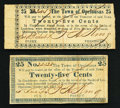 Obsoletes By State:Louisiana, Opelousas, LA- Town of Opelousas 25¢ two varieties Oct 4, 1862. ... (Total: 2 notes)