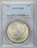 Peace Dollars: , 1925 $1 MS64 PCGS. PCGS Population (16805/8448). NGC Census:(20695/11803). Mintage: 10,198,000. Numismedia Wsl. Price for ...