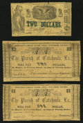 Obsoletes By State:Louisiana, Harrisonburg, LA- Parish of Catahoula $1 May 25, 1862, $2 May 25, 1862, $2 Apr. 6, 1862. ... (Total: 3 notes)