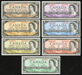 Canadian Currency: , 1954 Modified Portrait Notes BC-37b $1, BC-48a $2, BC-39b $5, BC-40b $10, BC-41b $20, BC-42b $50, and BC-43a $100.. ... (Total: 7 notes)