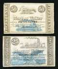 Obsoletes By State:Louisiana, Franklin, LA- Marcus Walker 25¢ Jan., 1862, 50¢ May, 1862. ... (Total: 2 notes)