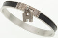 Luxury Accessories:Accessories, Hermes Black Leather and Silver H Charm Bracelet. ...