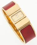 Luxury Accessories:Accessories, Hermes Gold and Red Lizard Loquet Watch. ...