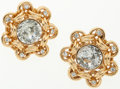 Luxury Accessories:Accessories, Chanel Large Gold and Crystal Clip-On Earrings. ...