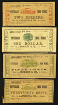 Obsoletes By State:Louisiana, New Orleans, LA- Patterson Iron Works 25¢, 50¢, $1, $2 Various 1862 dates. ... (Total: 4 notes)