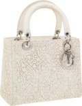 Luxury Accessories:Bags, Christian Dior Beige Perforated Leather Lace Lady Dior Tote Bag....