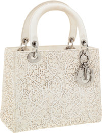 Christian Dior Beige Perforated Leather Lace Lady Dior Tote Bag