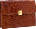 Luxury Accessories:Bags, Lana Marks Shiny Cognac Alligator Clutch Bag with Chain ShoulderStrap. ...
