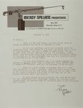 Autographs:Authors, Mickey Spillane (American Writer). Typed Letter Signed. Horizontalcreases. Near fine....