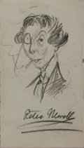 Autographs:Artists, Peter Newell (American Artist and Writer). Signed Original PencilSketch. 3.5 x 2 inches. Very good....