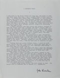 Autographs:Authors, John Knowles (American Writer). Typed Excerpt Signed. Near fine....